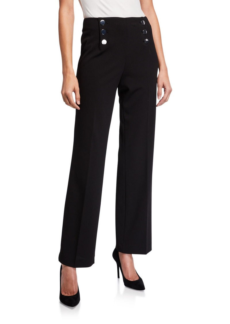 Calvin Klein Button Detail Wide-Leg Pants