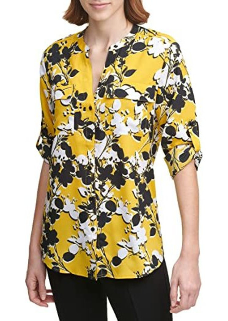 Calvin Klein Button Front Long Sleeve Printed Blouse