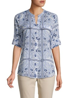 Calvin Klein Button-Front Printed Roll-Tab Top