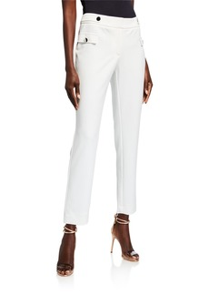 Calvin Klein Button-Trim Crepe Straight-Leg Pants