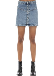 Calvin Klein Button-up Cotton Denim Mini Skirt
