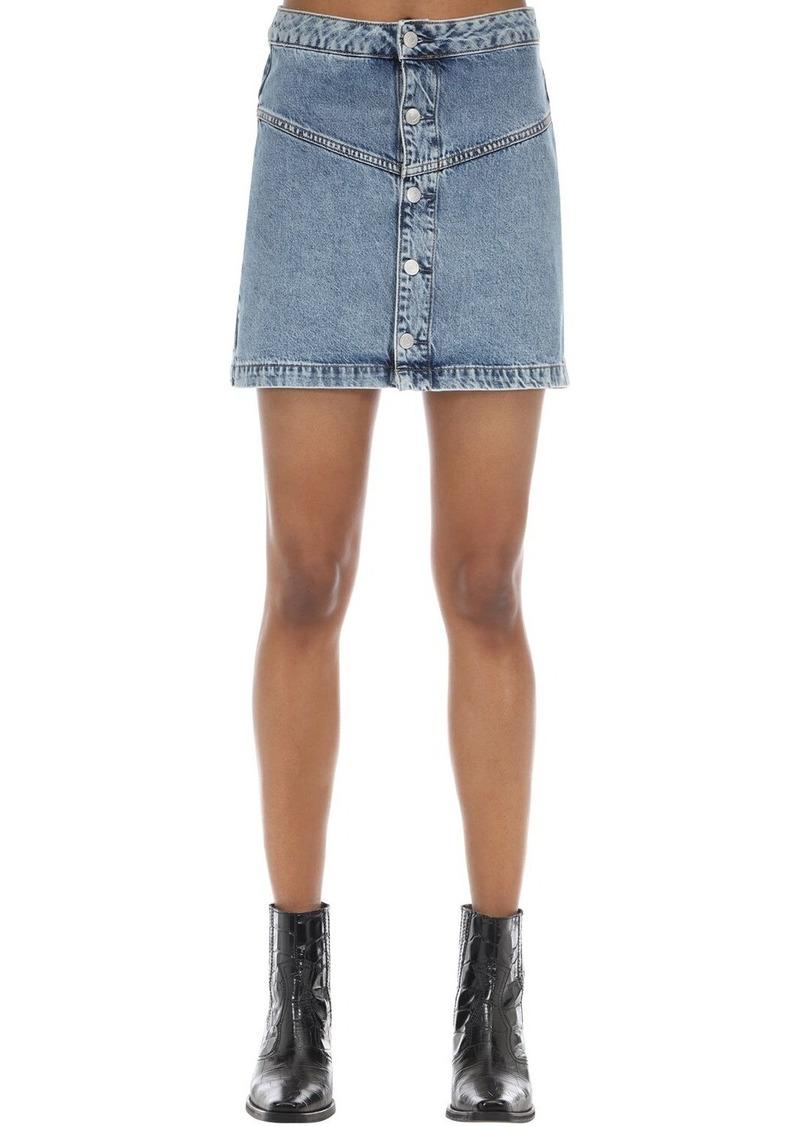 Calvin Klein Button-up Cotton Denim Mini Skirt