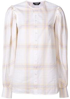 Calvin Klein buttoned sleeve plaid top