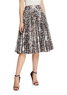 CALVIN KLEIN 205W39NYC Animal-Print Pleated Taffeta Skirt