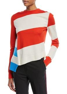 CALVIN KLEIN 205W39NYC Asymmetric Colorblock Stripe Sweater