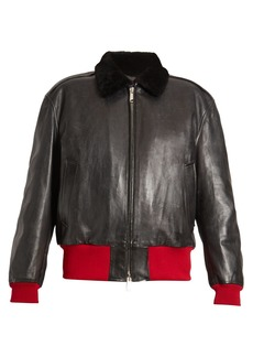 CALVIN KLEIN 205W39NYC Bi-colour leather bomber jacket