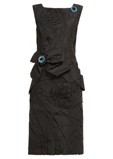 CALVIN KLEIN 205W39NYC Bow-appliqué silk-taffeta dress