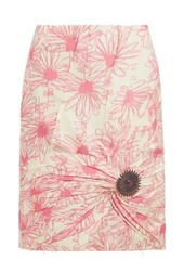 CALVIN KLEIN 205W39NYC Brooch-embellished floral-print silk skirt