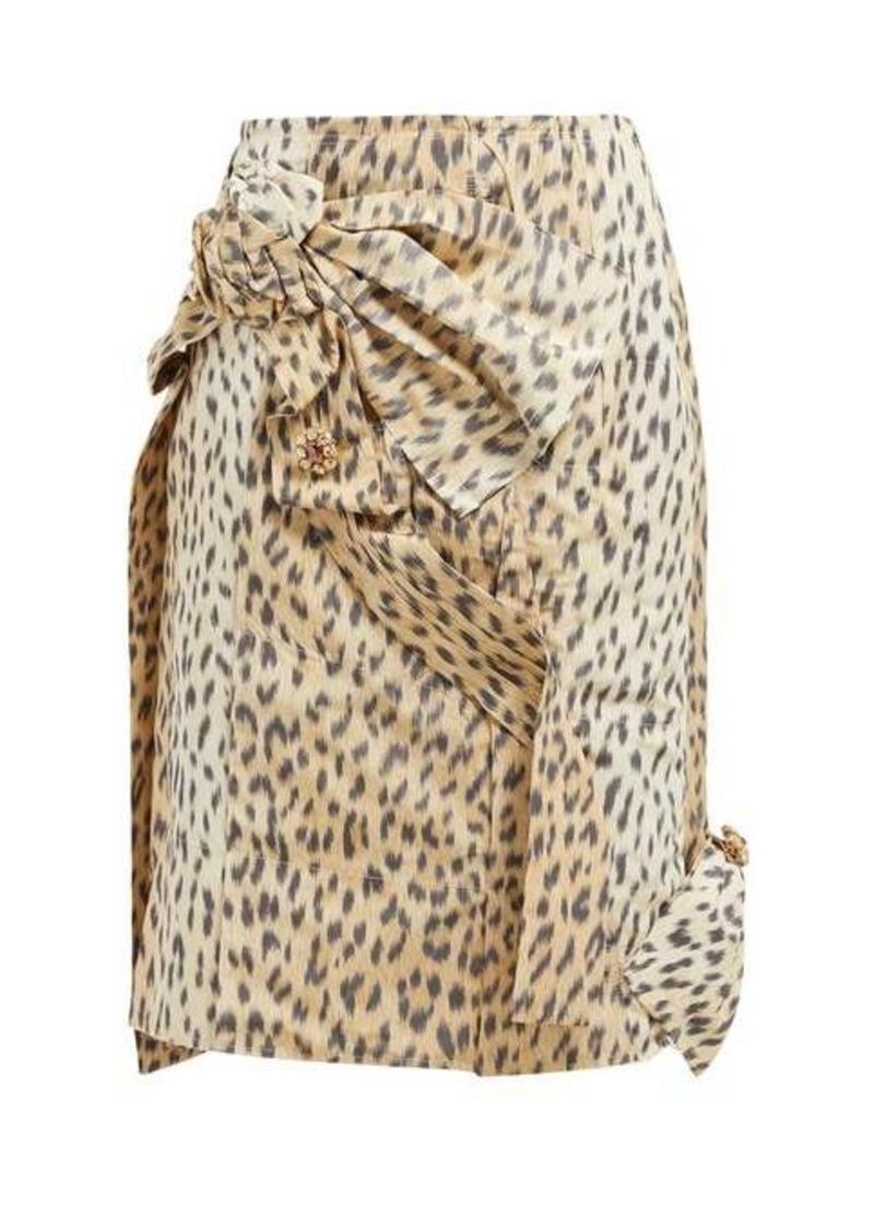 Calvin Klein Brooch-embellished leopard-print silk skirt