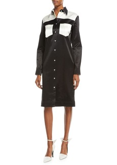 CALVIN KLEIN 205W39NYC Button-Front Long-Sleeve Satin Western Dress