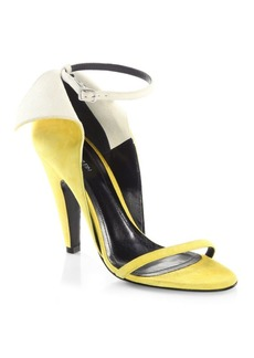CALVIN KLEIN 205W39NYC Camrin Winged Suede Ankle-Strap Sandals