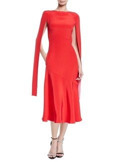 CALVIN KLEIN 205W39NYC Cape-Sleeve High-Neck Slim Silk-Cady Midi Dress