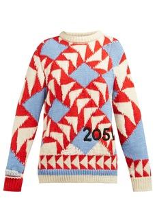 CALVIN KLEIN 205W39NYC Chunky-knit intarsia wool-blend sweater