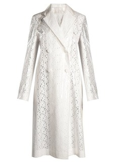 Calvin Klein Coated-overlay broderie-anglaise coat