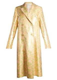 Calvin Klein Coated-overlay floral-jacquard coat