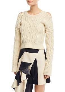 CALVIN KLEIN 205W39NYC Cold-Shoulder Cable-Knit Racerback Sweater