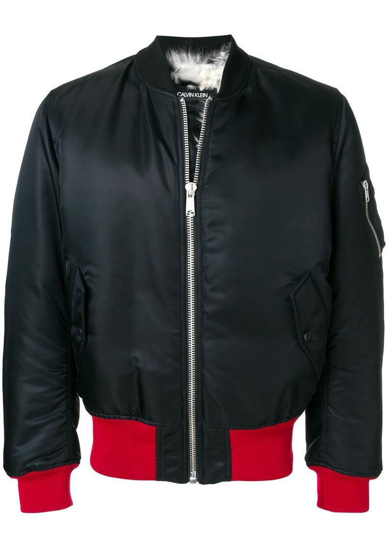 Calvin Klein contrast hem bomber jacket