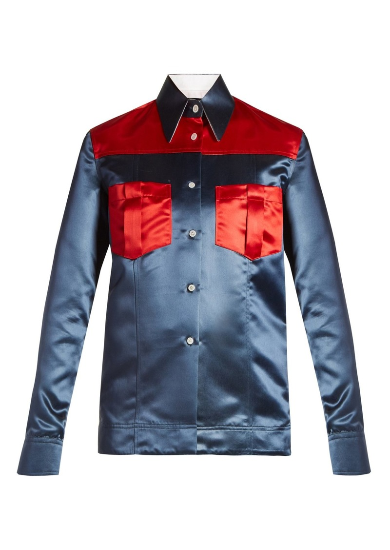 CALVIN KLEIN 205W39NYC Contrast-panel duchess-satin shirt
