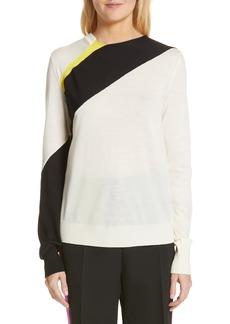 CALVIN KLEIN 205W39NYC Contrast Stripe Wool Blend Sweater