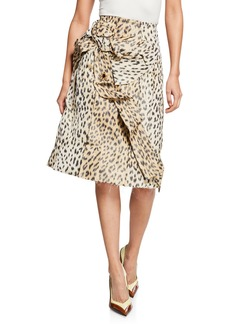 CALVIN KLEIN 205W39NYC Crushed Leopard-Print Silk Pencil Skirt