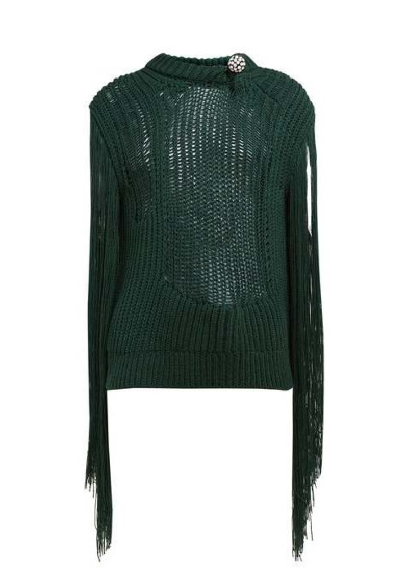 Calvin Klein Crystal brooch embellished fringe sweater