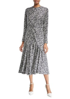 CALVIN KLEIN 205W39NYC Daisy-Print Long-Sleeve Silk Midi Dress