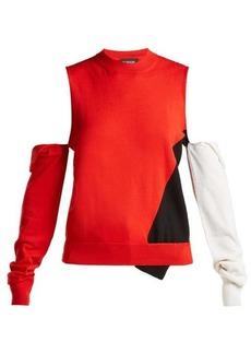 CALVIN KLEIN 205W39NYC Deconstructed round neck wool-blend sweater