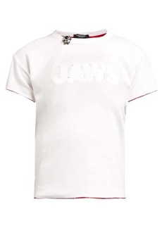 CALVIN KLEIN 205W39NYC Distressed Jaws-stitched cotton T-shirt