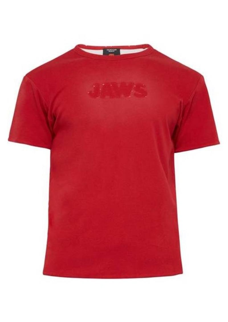Calvin Klein Distressed-logo double-faced jersey T-shirt