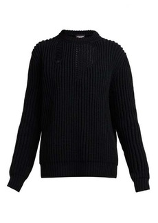 CALVIN KLEIN 205W39NYC Distressed ribbed-knit sweater