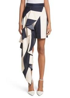 CALVIN KLEIN 205W39NYC Flag Stripe Silk Shantung Drape Skirt