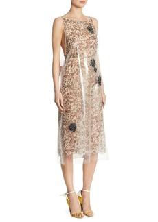 CALVIN KLEIN 205W39NYC Floral Plastic Slip Dress