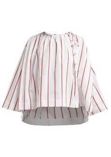 Calvin Klein Fluted-sleeve striped cotton blouse