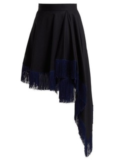 CALVIN KLEIN 205W39NYC Fringed asymmetric wool skirt