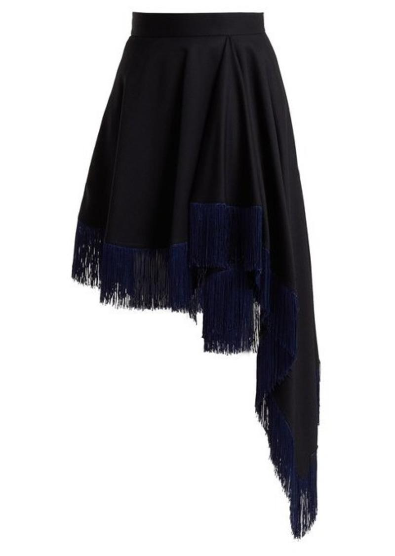 Calvin Klein Fringed asymmetric wool skirt