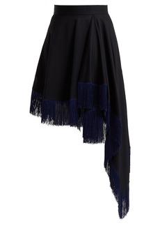 CALVIN KLEIN 205W39NYC Fringed asymmetric wool skirt