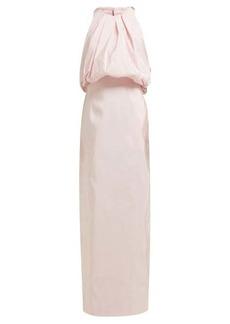 CALVIN KLEIN 205W39NYC Gathered-neck silk-faille gown