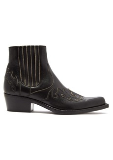 CALVIN KLEIN 205W39NYC Grained-leather squared-toe ankle boots