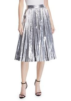 CALVIN KLEIN 205W39NYC High-Waist Pleated Flare Knee-Length Skirt
