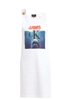 CALVIN KLEIN 205W39NYC Jaws-print ribbed cotton-jersey dress