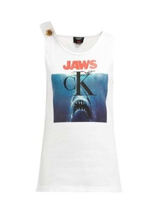 CALVIN KLEIN 205W39NYC Jaws-print ribbed stretch-cotton tank top