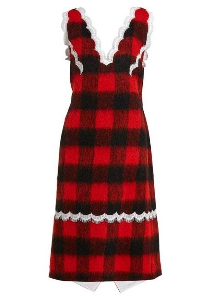 CALVIN KLEIN 205W39NYC Lace-trimmed checked dress