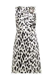 CALVIN KLEIN 205W39NYC Leopard-print crystal brooch silk dress