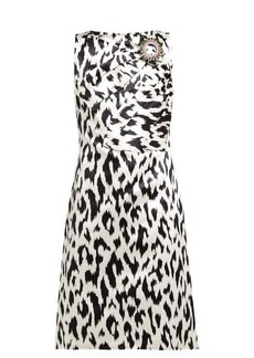 CALVIN KLEIN 205W39NYC Leopard-print crystal brooch silk dress