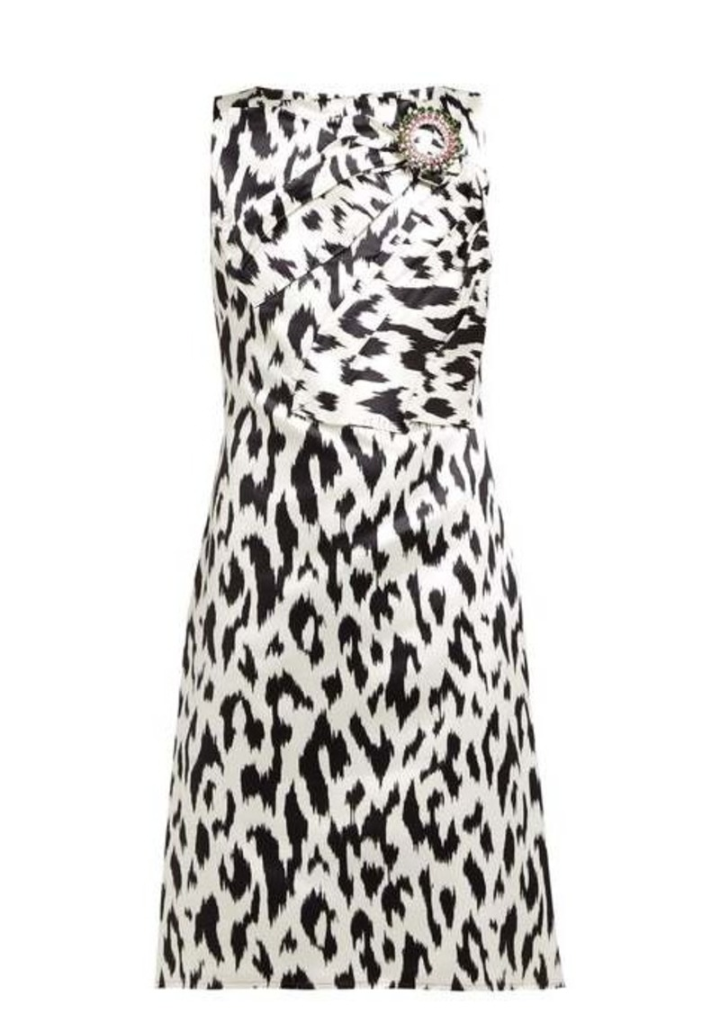Calvin Klein Leopard-print crystal brooch silk dress
