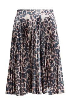 CALVIN KLEIN 205W39NYC Leopard-print pleated-taffeta skirt