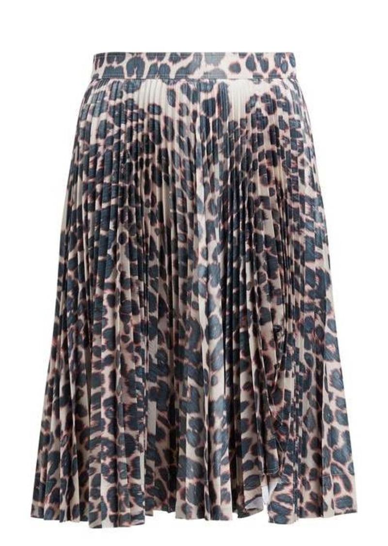 Calvin Klein Leopard-print pleated-taffeta skirt
