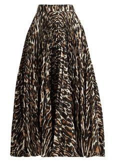 CALVIN KLEIN 205W39NYC Leopard-print pleated twill midi skirt
