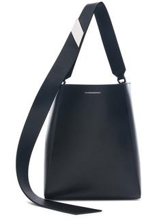 CALVIN KLEIN 205W39NYC Luxe Calf Leather Stripe Link Bucket Bag