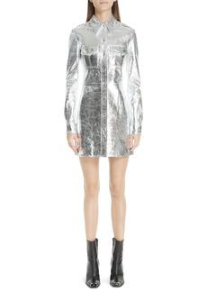 CALVIN KLEIN 205W39NYC Metallic Leather Western Shirtdress
